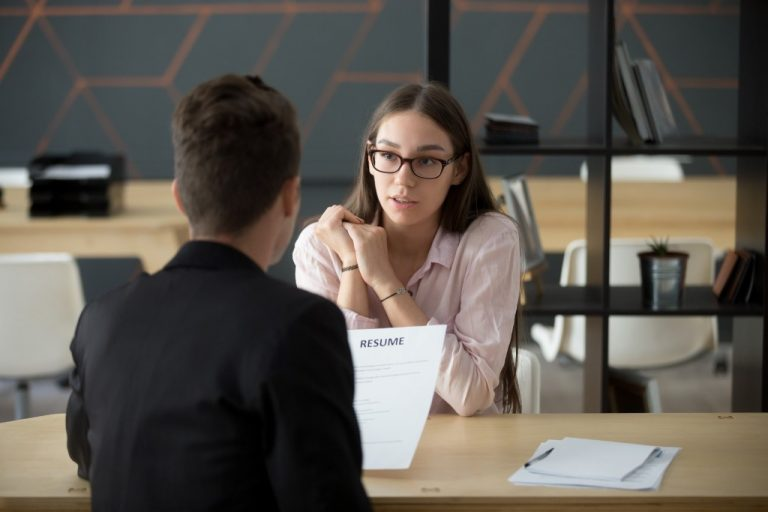 Young candidate in a job interview